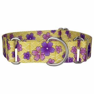 Country Brook Petz™ 1 1/2 Inch Purple April Blossoms Martingale Dog Collar