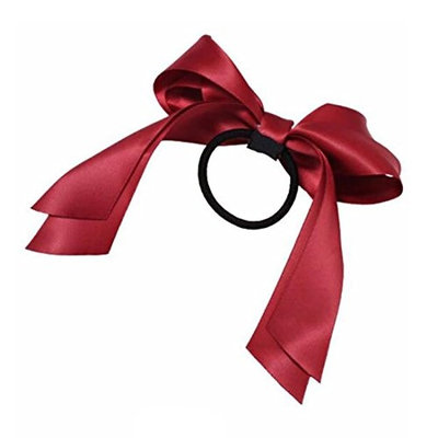 2016 Hair Accessories 1Pc Women Tiara Satin Ribbon Bow Hair Band Rope Scrunchie Ponytail Holder Wine Red