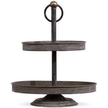 Metal Oval 2-Tier Tray