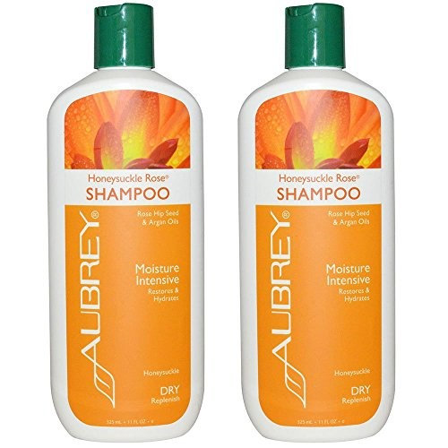 Aubrey Organics Honeysuckle Rose Shampoo for Moisture Intensive and Dry Replenish With Rose Hip Seed and Argan Oils, 11 fl oz (325 ml) (Pack of 2)