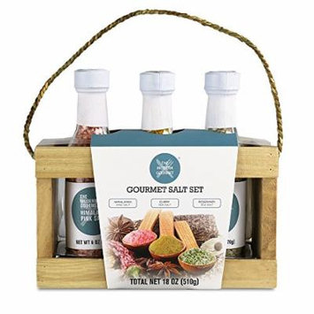 Gourmet Salt Sampler - Set of 3 , Himalayan Pink Crystal Salt, Rosemary Sea Salt, & Curry Sea Salt (4.2 oz each)