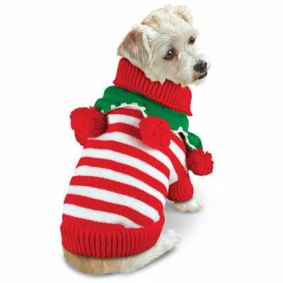Striped Pom Pom Dog Christmas Sweater, Medium
