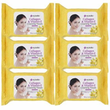 Epielle Collagen Vitamin E Facial Cleansing Tissues-30ct (6 Pack)