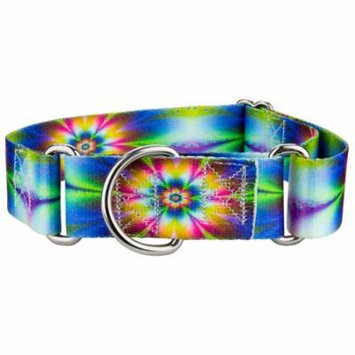 Country Brook Petz™ 1 1/2 Inch Tie Dye Flowers Martingale Dog Collar
