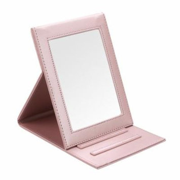 Fintie Portable Folding Vanity Makeup Mirror - PU Leather Folding Travel Cosmetic Mirror with Standing, Rose Gold