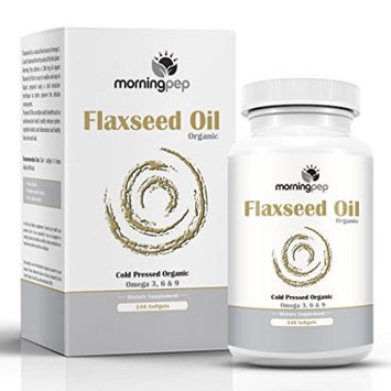Organic Flaxseed Oil Supplement 1,000 Mg Per Softgel 240 Count To Promote A Healthy Heart And Hair Skin And Nails, Morning Pep Cold Pressed Organic Flax Seed Oil Has Omega 3 6 9 Essential Fatty Acids