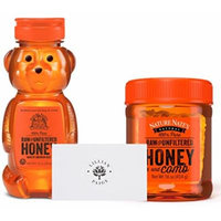 Nature Nate's 100% Pure Raw & Unfiltered Honey and Comb in Dependable Packaging to Prevent Breakage with LP card Bundle (16 oz Honey & Comb plus 12 oz Bear, Bundle)