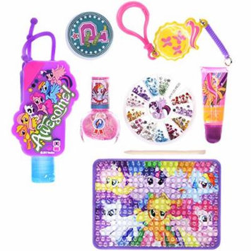 Townley Girl My Little Pony Cosmetic Set for Girls: Nail Polish, Lip Gloss, Hand Sanitizer, Nail Gems and More