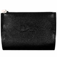 Dior Counter Gift - Black Faux Leather Cosmetics Makeup Toiletry/Coin Case Pouch Bag