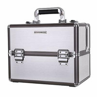 SONGMICS Professional Makeup Train Case with Sliding Trays Portable Cosmetic Box Storage Organizer 6 DIY Dividers Silver UMUC16S