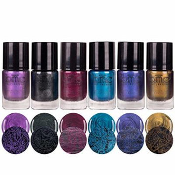 BMC Grimm's Nightfall Metallic, Shimmery, Dark Colored Duochrome Halloween Fall Fashion Highly-Pigmented Creative Nail Art Stamping Polish Full Collection - Set of 6