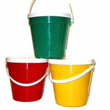 Talisman, Plastic Buckets & Lids, Gallon, 3 Pack Red Green & Yellow