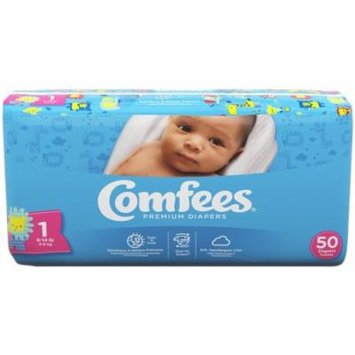Comfees Baby Diapers, Size 1 (8-14 Lbs) - Case of 200