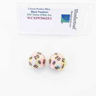 Wondertrail Products Circus Festive Dice with Black Numbers D20 Aprox 16mm (5/8in) Pack of 2 Wondertrail