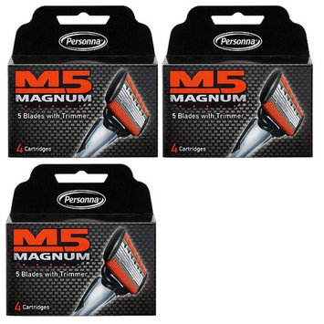 Personna M5 Magnum 5 Refill Razor Blade Cartridges, 4 ct. (Pack of 3) + FREE Luxury Luffa Loofah Bath Sponge On A Rope, Color May Vary
