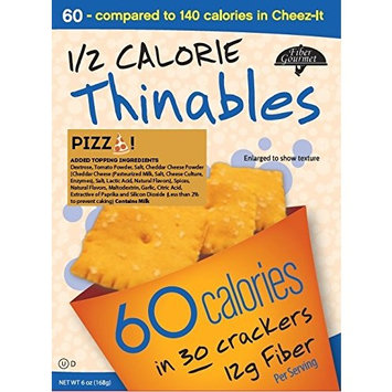 Thinables Low Calorie Crackers (6 pack) Pizza, Healthy, Low Carb, Low Fat, Fiber Gourmet, 6 ounces, Weight Loss Snack, 24g of Protein, 66g Fiber