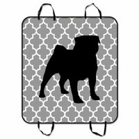 ZKGK Moroccan Tile Quatrefoil with Pug Dog Car Seat Cover Dog Car Seat Cushion Waterproof Hammock Seat Protector Cargo Mat for Cars SUVs and Trucks 54x60 inches