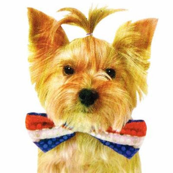 Red White and Blue Sequin Pet Bowtie (Medium/Large)