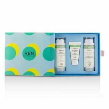 Ren - Evercalm Sensitive Skin Kit: 1x Gentle Cleansing Milk 50ml, 1x Anti-Redness Serum 10ml, 1x Global Protection Day Cream 50ml -3pcs