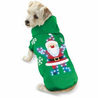 Lighted Christmas Dog Outfit Jacket, Large, Santa