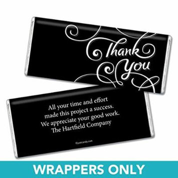 Thank You Personalized Chocolate Bar Wrappers - Scroll (25 Wrappers) Black