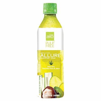 Alo Pulp Free Allure Aloe Vera Juice Drink - Mangosteen and Mango - Case of 12 - 16.9 fl oz.