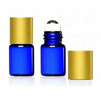 Grand Parfums 2 ml, 5/8 Dram Cobalt Blue Glass Micro Mini Glass BTLS w/Metal Roller Balls & Metal Gold Caps. - Refillable (72 items)