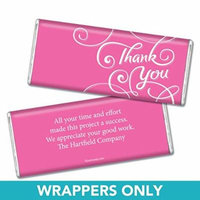 Thank You Personalized Chocolate Bar Wrappers - Scroll (25 Wrappers) Bright Pink