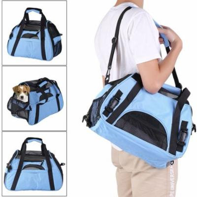 Blue Breathable Pet Cage Foldable Dog Travel Booster Bag Cats Car Seat Carrier