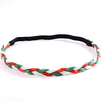 Hair Braided Headband, American US Flag Bandana Hair Elastic Braid Headband for For Women Baby 4th July Hair Accessories Headwear(Green + White + Red)