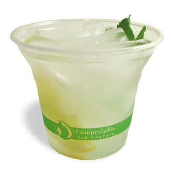 Planet + 100% Compostable PLA Clear Cold Cup, 9-Ounce, 1000-Count Case