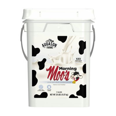 Augason Farms Morning Moo's Low Fat Milk Alternative Certified Gluten Free Emergency Bulk Food Storage 4-Gallon Pail 533 Servings