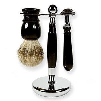 3 Piece Kaliandee Shaving Set with Silvertip Brush in Ebony, Georgian Razor, and Ebony & Chrome Stand
