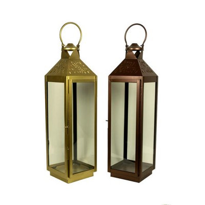 Benzara Traditional Style Metal and Glass Lanterns, Gold and Copper, Set Of 2