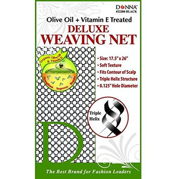 (PACK OF 12) DONNA OLIVE OIL + VITAMIN E TREATED DELUXE WEAVING NET #22204 BLACK: Beauty