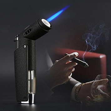 Jet Torch Cigar Lighter with Coated Metal, Soft or Jet Flame Changeable and Butane Gas Fuel Refillable Windproof Cigarette Lighter