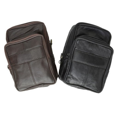 Double Pouch Top Grain Genuine Leather Travel Organizer Wallet 113 (C) Brown