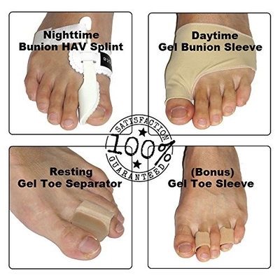 LifeLux Bunion Pain Relief Value Pack. 4 Pair - Bunion Toe Corrector Straightener Splints; Gel Toe Spreader, Hallux Valgus Treatment; Bunion Pads For Best Protection; Gel Toe Sleeves Relieve Foot Pain