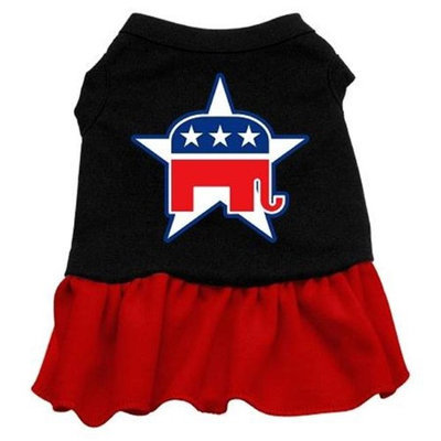 Mirage Pet Products 5815 XLBKRD Republican Screen Print Dress Black with Red XL 16