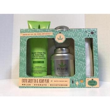 Hempz EXOTIC GREEN TEA & ASIAN PEAR Bath and Body Set with Beauty Bag; In Shower Body Moisturizer, Herbal Bath Salts