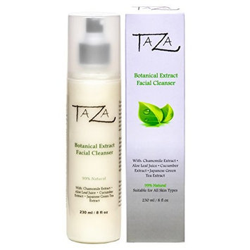 Premium Taza Natural Botanical Extract Facial Cleanser, 8 oz (231 ml) ♦ Firmer and Refined Skin ♦ With: Chamomile Extract, Aloe Leaf Juice, Cucumber Extract, Japanese Green Tea Extract