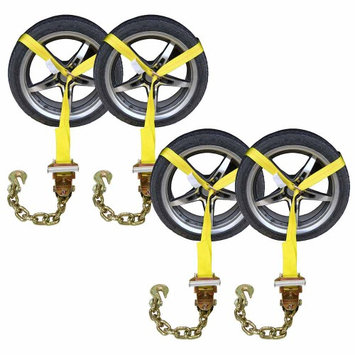 Us Cargo Control Side Mount Wheel Net w/ Ratchet & Chain Extension (Pack of 4)
