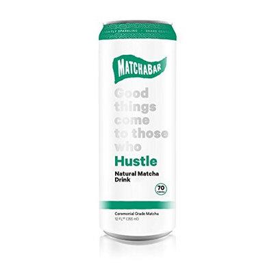 MatchaBar Hustle Energy Drink, Original Sparkling Natural Matcha Beverage, With Caffeine, Antioxidants, L-Theanine, 12 fl. oz. (Pack of 12)