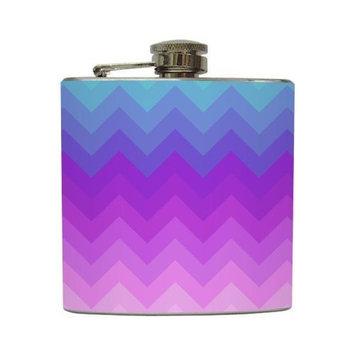 Ombre Chevron Stripe - Liquid Courage Flasks - 6 oz. Stainless Steel Flask