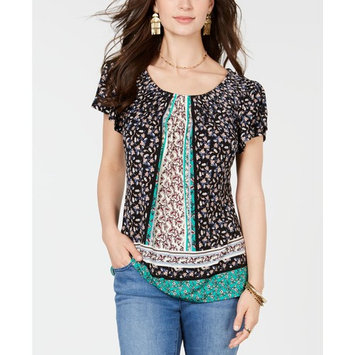 Petite Floral-Print Pleat-Neck Top, Created for Macy's