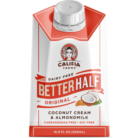 Califia Farms Better Half Milk Coffee Creamer, Original, Coconut Cream and Almond, 16.9 Fl oz