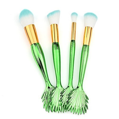 Fenleo 4 Pcs Mermaid Makeup Brush Set Professional Electroplated Handle Premium Synthetic Foundation Blending Blush Concealer Eye Face Liquid Powder Cream Cosmetics Brushes Kit B