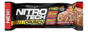MuscleTech Nitro Tech Crunch Protein Bars, Cinnamon Bun, 12 Bars