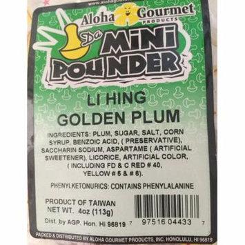 Aloha Gourmet Da Mini Pounder Li Hing Golden Plum Hard Candy 4 oz. bag
