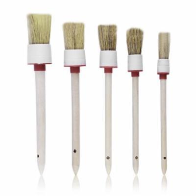 New Arrival 5PCS Wood Handle Car Brush Vehicle Cleaning Tools Detailing Brush NO LOGO